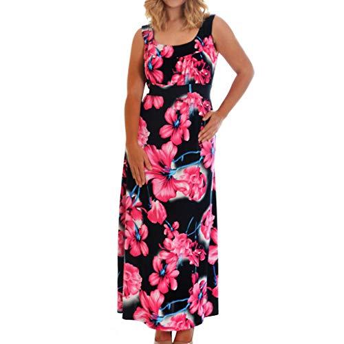 Markthym Art- und Weisefrauen beiläufig Plus Größen-Blumendruck-Verband-ärmelloses rückenfreies Kleid Lässiges ärmelloses Neckholder-Kleid mit großem Print -
