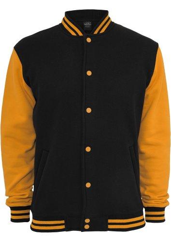 Urban Classics Kids 2-tone College Sweatjacket, Farbe:blk/ora;Größe:10
