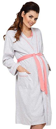 Zeta Ville Maternity - Damen Umstands Still-Nachthemd und Bademantel-Set - 767c (Koralle, EU 44/46, 2XL)