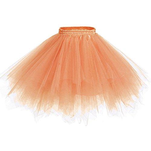 Caissen Damen Vintage Elastisch Puffy Tüll Tütü Röcke Petticoat Ballett Blase Ballkleid Mehrfarbengroß Unterröcke ()