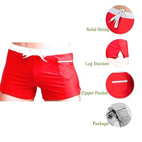 TONLEN Herren Shorts Badehosen Jungen Bademode Sport Shorts Mit Reißverschluss Tasche 3-Rot