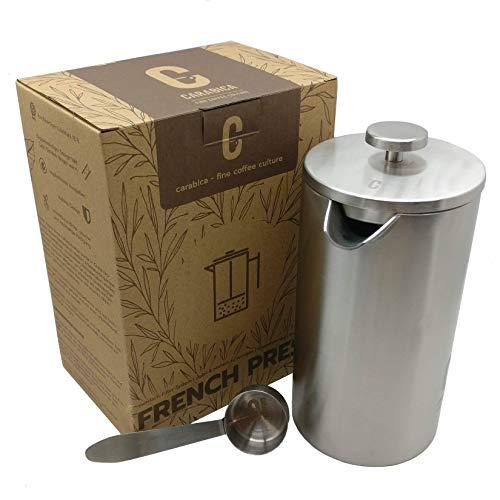 carabica French Press Stempelkanne   Kaffeebereiter   doppelwandig   Edelstahl (Silver Steel)