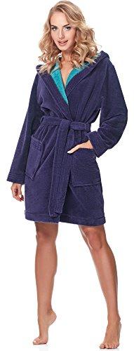 Merry Style Damen Bambusfasern Bademantel MSLL1004 Violett/Blau