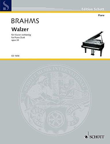 Walzer: op. 39. Klavier 4-händig. (Edition Schott)
