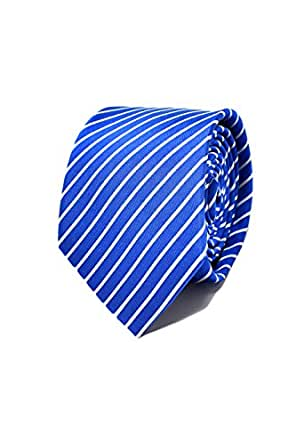 Striped Blue Men's Tie - 100% Silk - Classic, Elegant and Modern - (Ideal for a gift, a wedding, with a suit, at work .)