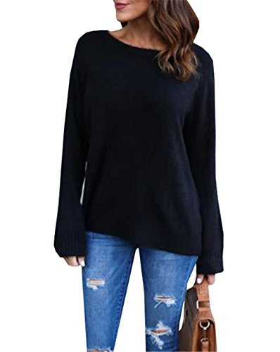 DaBag Donna Maglie Girocollo Maniche Lunghe Camicetta Superiore Cime Autunno Inverno Blusa Tunica Sweater Top Nero