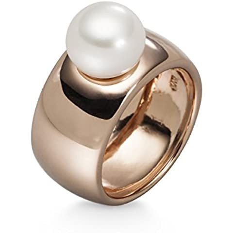 Valero Pearls Anello da donna argento sterling 925 doré or rose perla coltivate d'acqua dolce bianco ca. 9 mm 40804039