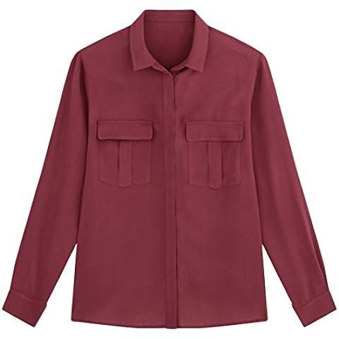 R Essentiel Donna Camicia Con Tasche Taglia 54 Rosso
