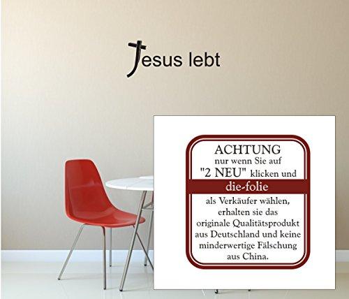 """Wandtattoo - """"Jesus lebt"""" - Christentum - Religion- verschiedene Größen und Farben (600 mm x 240 mm, M010 Weiß)"""