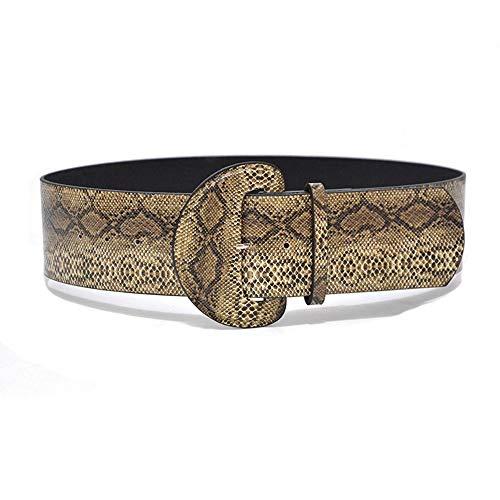 Yiph-Belt Gürtel Freizeit Vintage Crepe Kunstleder breiter Gürtel Damen Snake Print dekorative vielseitige Gürtel (Color : Beige, Size : 105cm) (Schnalle Snake Print)
