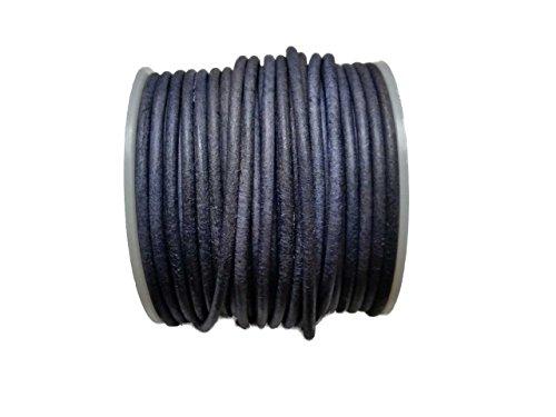 Lederband Denim Blau gebeizt rund 3mm 1 Meter