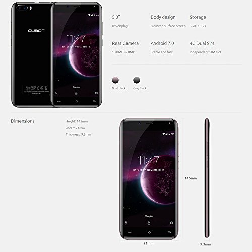 Cubot Magic Smartphone 3GB RAM 16GB ROM 4G LTE Android 7 0 MTK6737 1 3GHz Quad Core Pantalla 5 0 Pulgadas IPS HD HD Dual C  mara 13MP   5MP Dual Micro