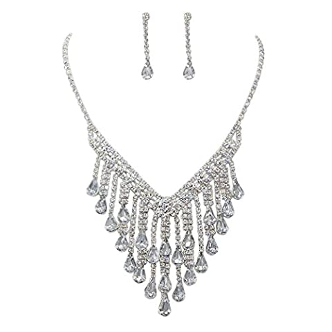 Rosemarie Collections Women's Rhinestone Fringe Statement Necklace Drop Earrings Set