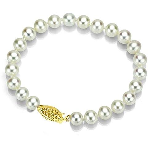 Oro amarillo de 14K 7,5–8mm AAA Handpicked Blanco Japonés Akoya perla cultivada pulsera, 7,5