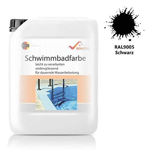 Bekateq Poolfarbe LS-400, RAL9005 Schwarz 0,75l seidenglänzend, Schwimmbadfarbe Chlorkautschukfarbe für mineralische Untergründe wie Beton, Mauerwerk, Putz