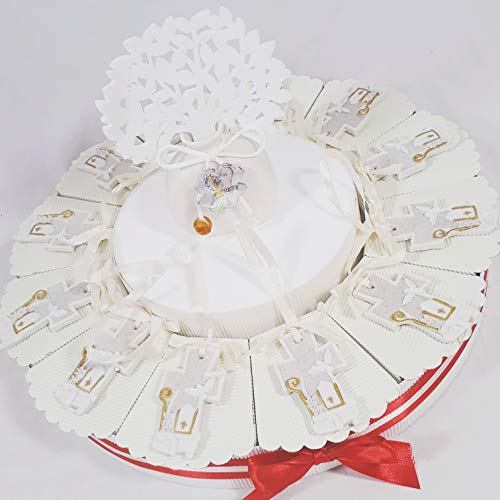 Bomboniere sacre croce con simbolo cresima su torta portaconfetti + confetti bianchi- torta 12 fette +12 oggetti su fetta + 1 centrale profumatore