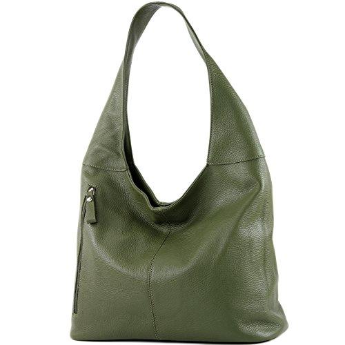 modamoda de - T166 - ital Große Schultertasche aus Leder, Farbe:Olivgrün -