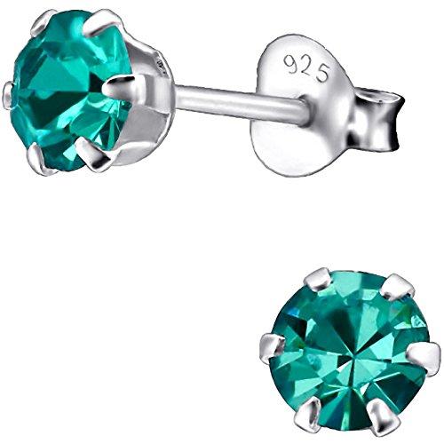 EYS JEWELRY runde Damen Ohrstecker 925 Sterling Silber mit funkelnden Zirkonia in zirkon-blau 5 mm Damen Ohrringe
