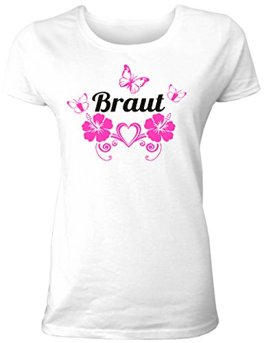 Damen T-Shirt für Den Junggesellinnenabschied mit Motiv Braut (mit Hibiskusblüten und Schmetterlingen) (Frauen/Braut) in Weiss, Größe L