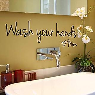 Upxiang Wash Your Hands Mom Home Decor Wall Sticker Decal Bedroom Vinyl Art Mural Vinyl-44x14.4CM (Black)