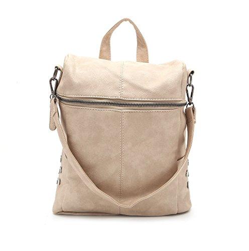 Dairyshop Sacchetti di scuola dello zaino della cartella delle donne di modo i sacchetti di spalla di corsa del cuoio del faux (Khaki) Khaki