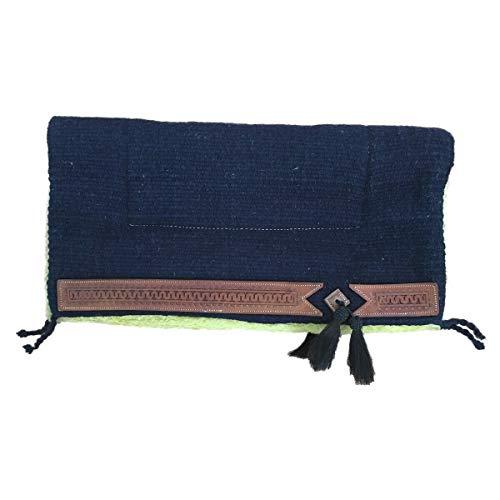 netproshop Pferd Sattelunterlage Western Pad mit Weichem Webfell und Lederverzierung Full, Farbe:dunkelblau