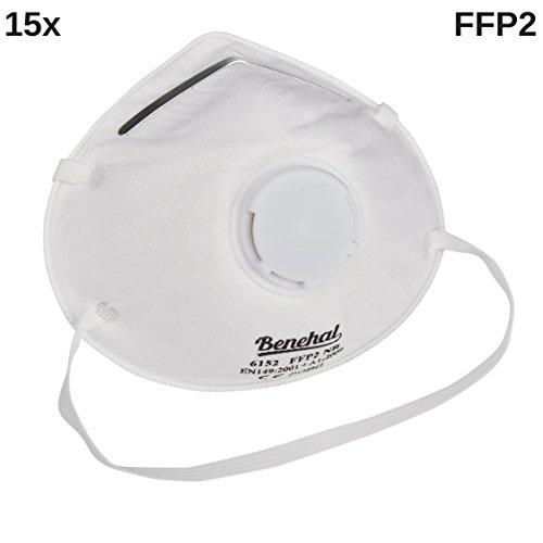 Hochwertige Atemschutzmaske FFP2 mit Filter-Ventil (15 Stück)│CE 6152 Feinstaubmaske ideal für den gewerblichen, sowie den privaten Einsatz │ Atemmaske & Mundschutz Maske in Weiß/Schwarz