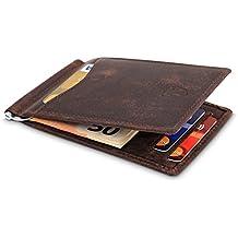 """TRAVANDO ® Slim Wallet mit Geldklammer Leder """"LYON"""" - Schlankes Portemonnaie ohne Münzfach - 8 Kartenfächer - RFID - Perfektes Geschenk für Männer - mit Geschenk Box - Designed in Germany"""