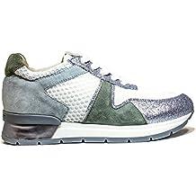 JANET SPORT 37855 ZAPATO BONITO PORTIMAO MUJERES zapatillas zapatos con tacón, MEDIO talón, nueva colección de verano 2016 de cuero de plata PRIMAVERA BLANCA