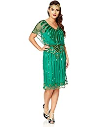 Angel Sleeve Vintage Inspired Flapper Dress in Emerald Green 0d897d538