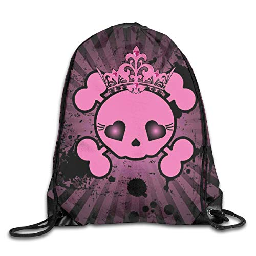 EELKKO Drawstring Backpack Gym Bags Storage Backpack, Cute Skull Illustration with Crown Dark Grunge Style Teen Spooky Halloween Print,Deluxe Bundle Backpack Outdoor Sports Portable Daypack