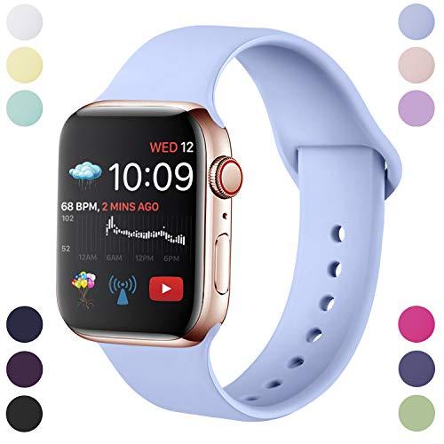Hamile Correa Compatible con Apple Watch 42mm 44mm, Correa de Repuesto de Silicona Suave para Apple Watch Series 5/4/3/2/1, S/M, Lila
