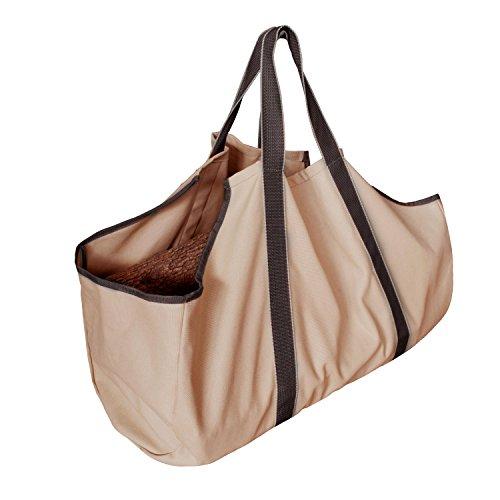 Asvert Holz Tasche Holzkörbe Tasche Burning Bag mit Griff Transport Korb Lagerung für Holz Canvas Durable (Khaki) (Tragen Auf Canvas)