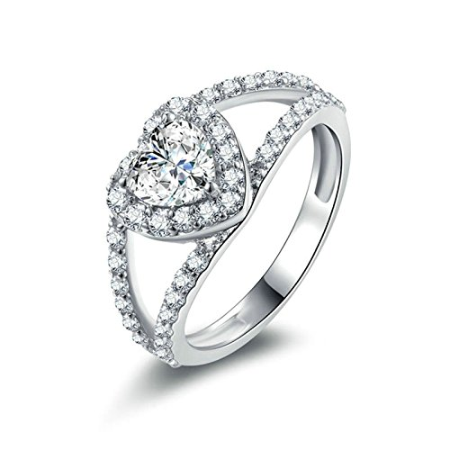 Daesar Frauen Ringe Silber 925 Herz Weiß Strass Zirkonia Partnerring Silber Ring Verlobung Größe 63 (20.1)