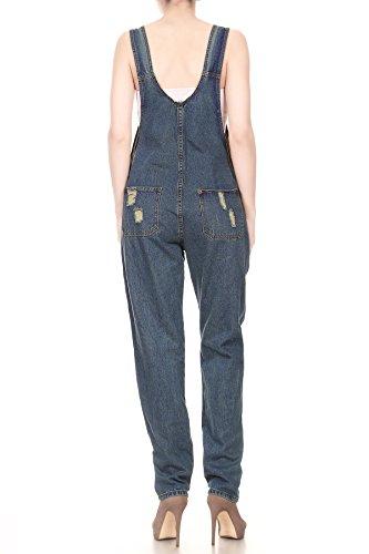 Anna-Kaci Damen Blue Gerades Bein Taschen Overall Jeans-Latzhose Blau