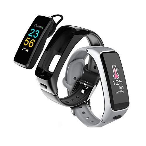 Smart-Armband 2019, IP67 wasserdicht Kalorie/Zähler, Männer und Frauen Outdoor-Sport-Uhr mit Bluetooth Anruf, für Android und IOS- (schwarz, Silber)