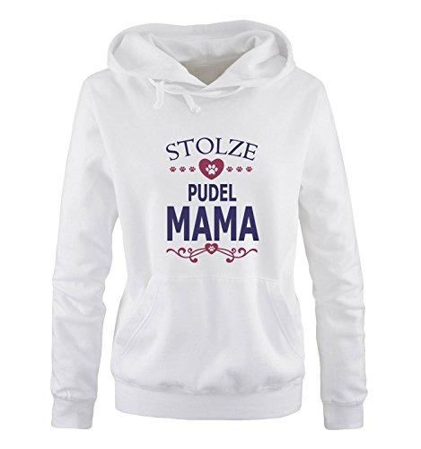 Comedy Shirts - Stolze Pudel Mama - Herz - Damen Hoodie - Weiss/Lila-Fuchsia Gr. XL -