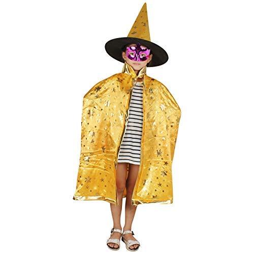 Tincocen 2 Stück/Satz Halloween Ornamente Kinder Mantel + Hut Stars Dekoration Cosplay Hexe Enchanter Kinder Jungen Mädchen Poncho + Kappe Kostüm für Kinder Kleinkinder Kinder Jungen/Mädchen (Kleinkind Orange Hexe Kostüm)