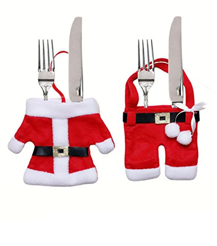 Kostüm Gabel Löffel Messer - Nuobo 1 Paar Weihnachten Kostüm Besteck Geschirr Halterung Gabel Löffel Messer Set Bag Cover Decor Kleidersack Tischdekorationen