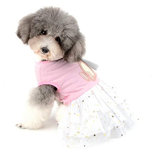 Ranphy Haustier Ostern Kleid Hund Prinzessin Kleid Stern Pailletten Doggie Tutu Rock Baumwolle Kleid für kleine Hunde Welpen Party Kostüm Haustier Weste Rock mit ()