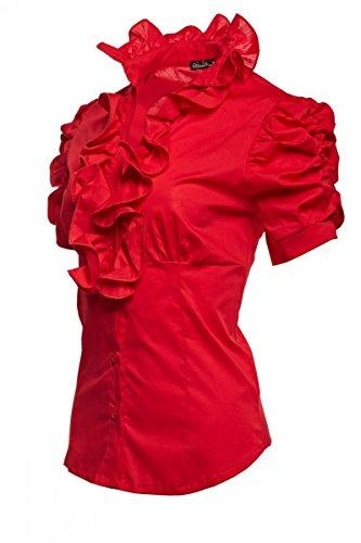 Laeticia Dreams Damen Bluse Kurzarm S M L XL XXL XXXL, Farbe:Rot;Größe:38 -