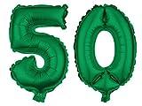 Alsino XXL Folienballons Luftballon Heliumballon Zahlenballon Ziffern 18-90 80 cm Party Geburtstag Hochzeit, Variante wählen:50, Variante wählen:grün