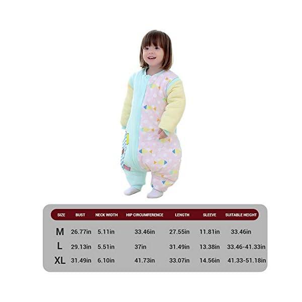 Bweele Saco de Dormir para bebés Saco de Dormir para niños de Invierno de Manga Larga Algodón Niño Niña Mono Unisex Pijama con piernas Forro cálido para niño y niña