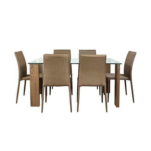 Parin Six Seater Dining Table Set (Brown)