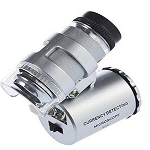 Homiki 60X Taschen-Mikroskop, Mini-Lupe, verstellbar, UV-Fluorenz-Detektor und LED-Licht, UV-Lampe, Juwelierlampe, Vergrößerung