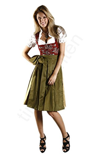 Midi Dirndl 3-tlg. LARISSA inkl. passender Bluse und Schürze Gr. 32-54 (40)