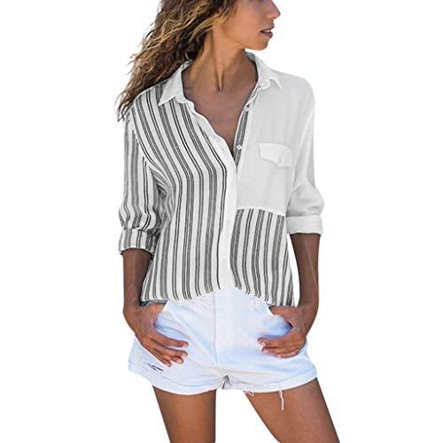 Ncenglings Damen Tops Herbst Bekleidung Sexy V-Ausschnitt Blusen Casual Langarm Oberteil Mode Streifen Strickjacke Vintage Drucken Tunika Hemden Persönlichkeit Tasche Sequin Top Elegant Bequem T-Shirt
