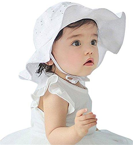 Ruiying Baby Kleinkind Mädchen groß Krempe Sonnenhut mit Kinnriemen Baumwolle Sonnenschutz Bucket Sommerhut Kinder Mütze Hat Cap für Baby Mädchen 6-24 Monate (48cm, Weiß)