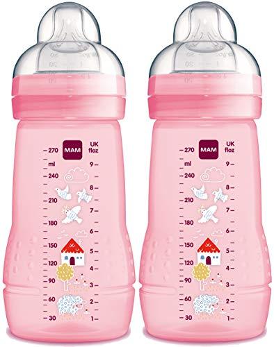 MAM 99957422 - Easy Active Baby Bottle 270 ml, Babyflasche, Doppelpack für Mädchen , Design sortiert