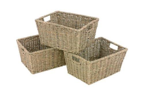 Set Of 3 Seagrass Rectangular Storage Baskets